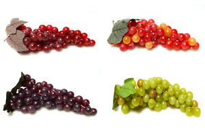 Artificial Large Grape Cluster 10-inch Plastic Decorative Grapes Fake Green Red