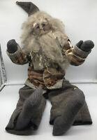 Vintage Folk Art Primitve Santa Claus Doll Wool Fur Fleece Quilt Plaid Handmade