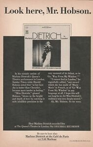 1967 vintage print ad Columbia Records Marlene Dietrich in London