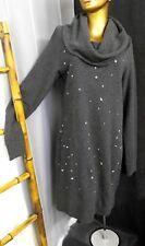 New SKUNKFUNK Sweater Dress KALISHA Draped Collar Jumper Gray Wool Cotton Bland