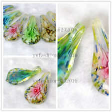 Wholesale LOts 12Ps Leaf Flower Lampwork Murano Glass Pendants Fit Necklace FREE