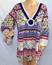 Melissa Paige Women Plus Size 1x Red Black Beige Crochet Tunic Top Blouse Shirt