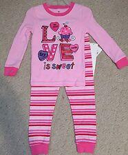 New 3T Toddler Girls Conversation Hearts Valentines PJ PAJAMAS Snug Fit Set Love