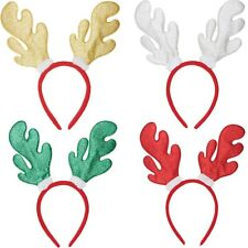 12 x REINDEER ANTLERS HEADBAND GLITTER RED GREEN GOLD SILVER CHRISTMAS PARTY NOV