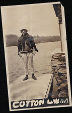 Old Antique Vintage Photograph Man At End of Dock With Sweater Around Neck