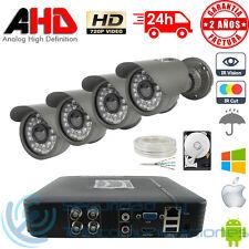 KIT AHD 720p DVR 4CH + 4 CAMARAS EXTERIOR CCTV HD DISCO DURO HDD VIDEOVIGILANCIA