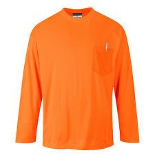 Portwest Hombre day-vis Bolsillo Camiseta manga larga naranja/Amarillo