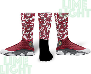 "Air Jordan 13 Red Flint ""Viral"" Nike Air Jordan Red Flint Sneaker Match Socks"