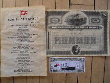 set of 3 Titanic reproduction first class menu & stock certificate & paper money