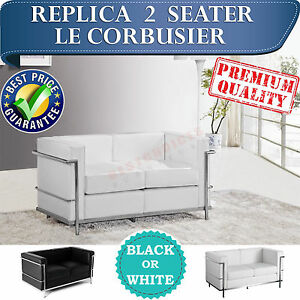 WHOLESALE Replica Le Corbusier 2 Seater Sofa Couch in Black or White Leather
