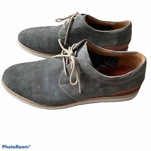 Johnston & Murphy Men's Size 10 Oxfords Shoes Gray Suede Sheepskin Lace Up