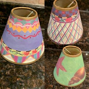"""New SMALL Painted Boho ACCENTED CLIP ON LAMP SHADE 4.25"""" Tall Multiple Patterns"""