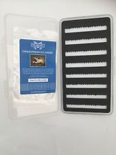 SLIMLINE TRANSPARENT FLY BOX 152 Flies. with trial Chalkstream fly line leader