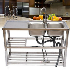 Commercial 2 Bowl Kitchen Sink Stainless Steel Removable Filter Bar Restaurant