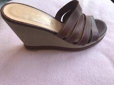 $474 Robert Clergerie Size 7 Brown Leather Sandals Wedge PLATFORM *NEW*