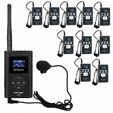 Wireless Tour Guide System Transmitter+Receiver+Microphone for Church/Conference