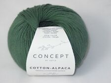 (11,90€/100g) 50g Katia Concept Cotton Alpaca  Farbe 94 jade grün
