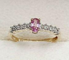 9ct Oro Bianco Zaffiro Rosa & Anello Di Diamanti-Dimensione N-slim-completamente marchiato