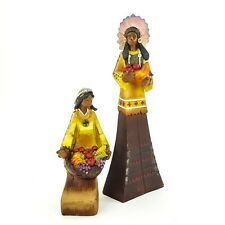 Thanksgiving Rustic Faux Wood Figurine Set Harvest Indian Man & Girl Basket Food