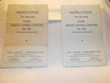 #022-60 lionel prewar 022 switch instr price for each