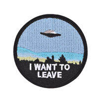 """1x embroidery  """"i want to leave""""  iron on patch badge hat jeans fabric applique"""