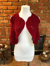 Vtg 90s BoHo Hippie CroppedCrimson Red Crocheted Overlay Layering Vest Top Xs/S
