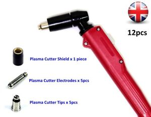 SG-51 Plasma Cutter Torch with Cutting Electrodes Nozzle Tips Shield Cup 12pcs
