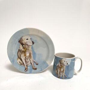 Sally Muir Anthropologie Dog-A-Day Coffee Mug & Plate: Labrador Golden Retriever