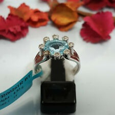 Natural Sky Blue Topaz Ring Women 925 Silver Purple Real Unheated Gemstone