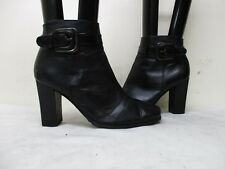 VIA SPIGA Black Leather Zip Buckle High Heel Ankle Boots Womens Size 8 M