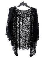 Womens Plus Size 4X Black Lace Cardigan Bolero Shrug Top
