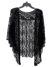 Womens Plus Size 5X Soft Black Lace Cardigan Bolero Shrug Top