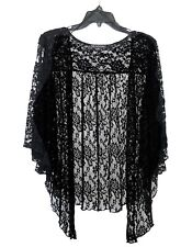 Womens Plus Size 4X Soft Black Lace Cardigan Bolero Shrug Top