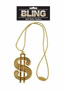 Gold Dollar Sign Necklace Pimp Chain Fancy Dress Accessory Gangster Rapper Snoop