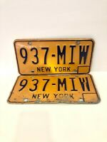 *VINTAGE* New York NY Pair of 2 License Plates 1973-86 Yellow Blue 937-MIW