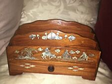 In LEGNO MADREPERLA INTARSIATA altamente decorativo Oriental lettera Rack con cassetto