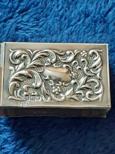 1905 corke bros & co - london - solid silver matchbox cover / holder & matches