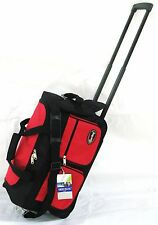 "20"" 40LB CAP. RED / BLACK ROLLING WHEELED DUFFLE BAG CARRYON LUGGAGE/SUITCASE"