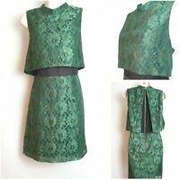 Topshop Emerald Green Lace Overlay Crop Sleeveless Party Dress size 16 BNWT £55