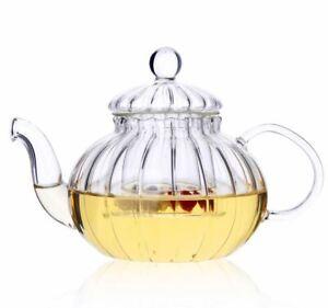 Pumpkin Style Glass Teapot With Glass Infuser Designer Teapot Tea Maker 600ml
