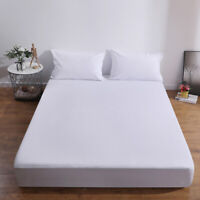 Waterproof Fitted Bed Sheet Strip Pattern Bedding Mattress Cover Protector