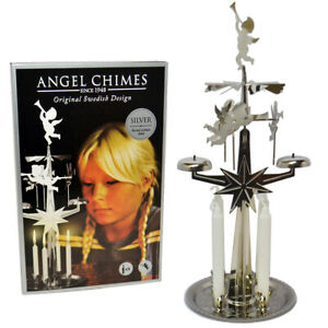 Original Swedish Angel Chimes & 4 Candles - Spinning - Silver Colour - Xmas