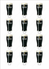 Novelty Pint of Guinness Stand Up Fairy Cake Cupcake Toppers Edible Birthday