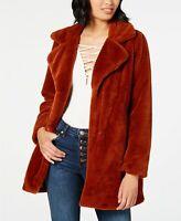 Coffee Shop Jacket Faux Fur Notched Collar Coat Womens Orange Sz L NEW NWT 918