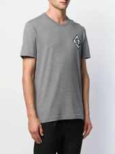 $470 DOLCE & GABBANA gray silk DG logo embroidered t-shirt - XS / 44 EU - NWT