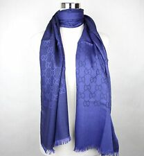 New Gucci Blue Wool Silk Guccissima Long Scarf 165904 4269