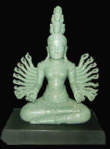 "Hand-Crafted NATURAL BURMA ""A"" JADEITE 20-Arm Prajnaparam KHMER Deity Sculpture"