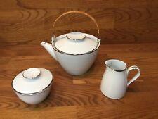 Vtg. Noritake SILVERDALE 5594 Tea Pot w/Creamer & Sugar Bowl w/Platinum Trim