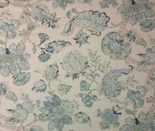 "BRAEMORE MEMENTO AQUAMARINE BLUE JACOBEAN FLORAL LINEN FABRIC BY YARD 54""W"
