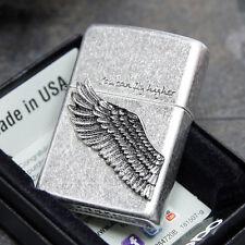Zippo You Can Fly Higher Wing Emblem Street Chrome USA Genuine Classic Lighter
